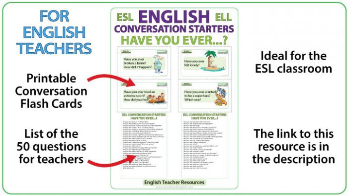 Have you ever ... ? English Conversation Questions - Flash Cards