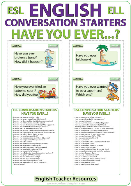50 Have you ever? Questions in English - ESL Conversation Cards