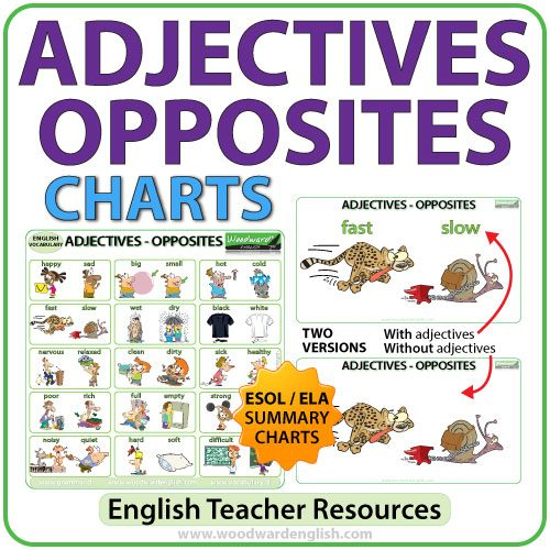 English Adjectives - Opposites Charts - ESOL Resource