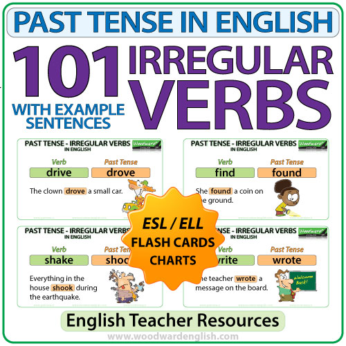 Past Tense in English - 101 irregular verbs flash cards / charts