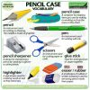 Pencil case Vocabulary in English including pen, eraser / rubber, pencil sharpener, pen, highlighter, scissors, glue stick.