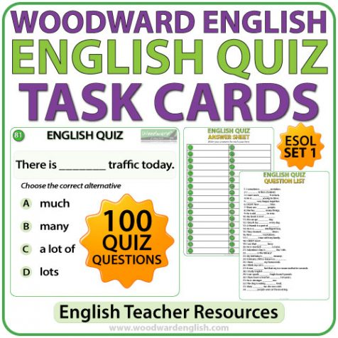 Woodward English Quiz Task Cards - Set 1 - Questions 1-100