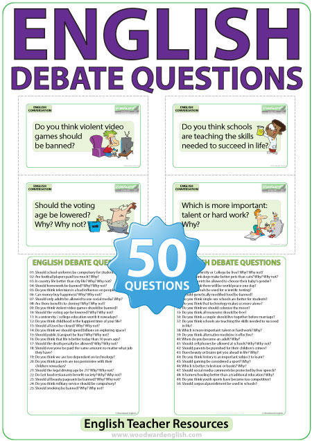 50 debate questions in English