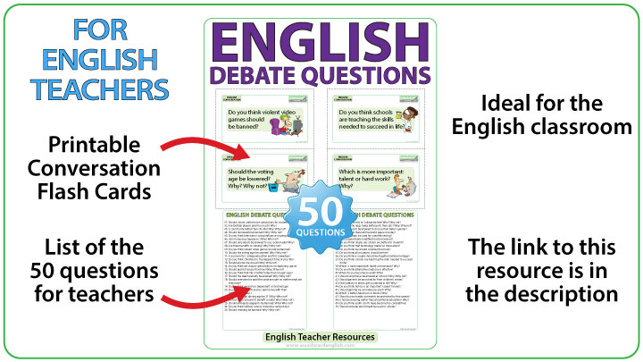 50 English debate questions - English teacher resource - Flash Cards