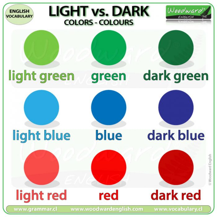 Light colors vs. Dark colors in English