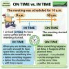 Difference between ON TIME and IN TIME in English