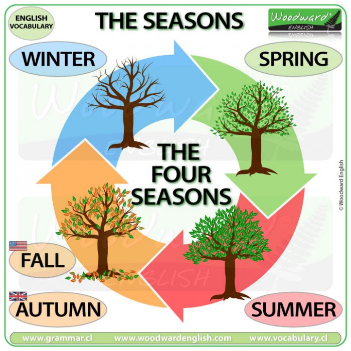 The names of the seasons in English - ESOL Vocabulary