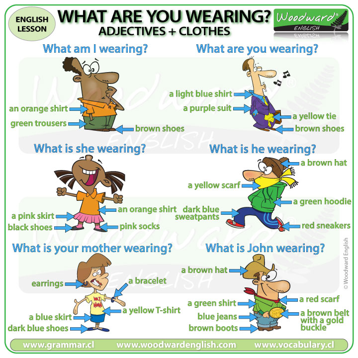 What are you wearing? Adjectives + Clothes in English