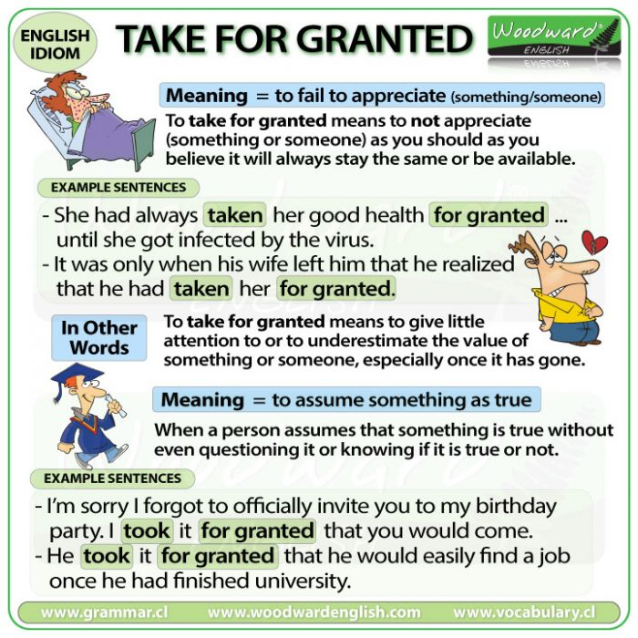 Take for granted - English Idiom meaning and example sentences