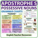 Apostrophe S possessive nouns English grammar charts - Teacher Resource
