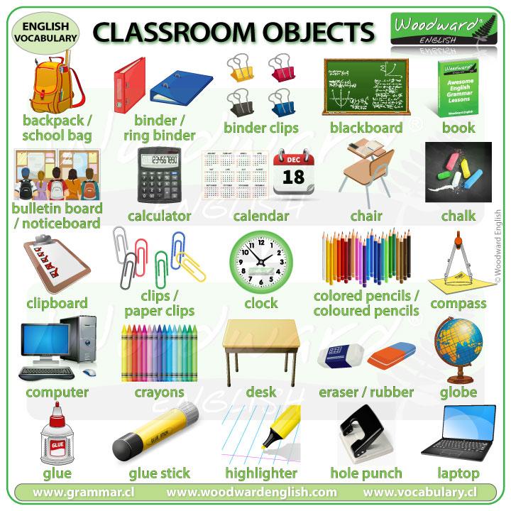 Classroom objects English vocabulary