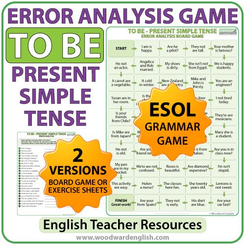 Error analysis worksheets - To be - Present simple tense - Woodward English