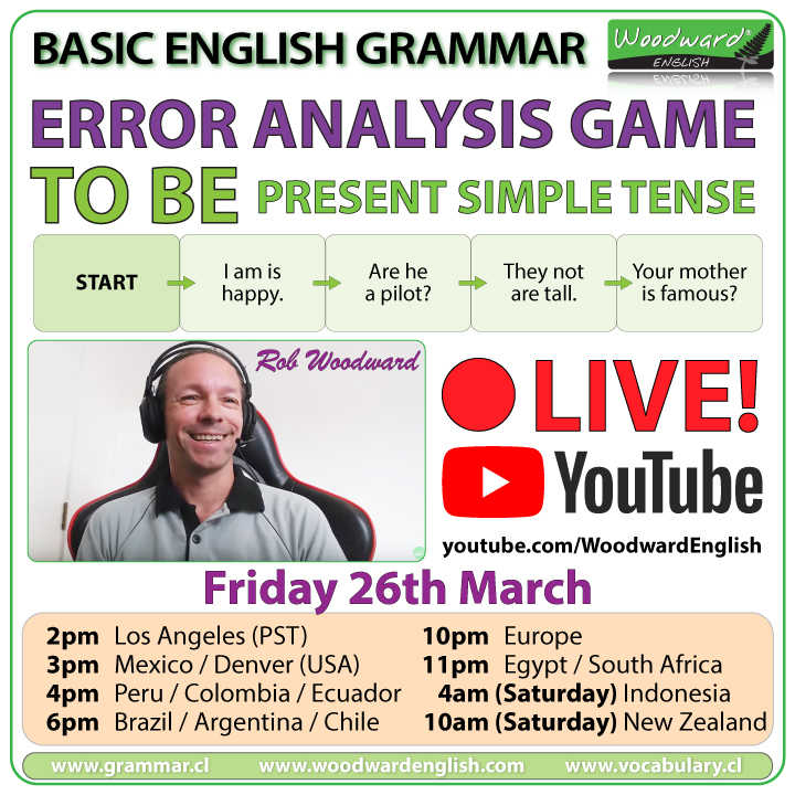 Live English on YouTube - Error Analysis Game - TO BE - Present Simple Tense