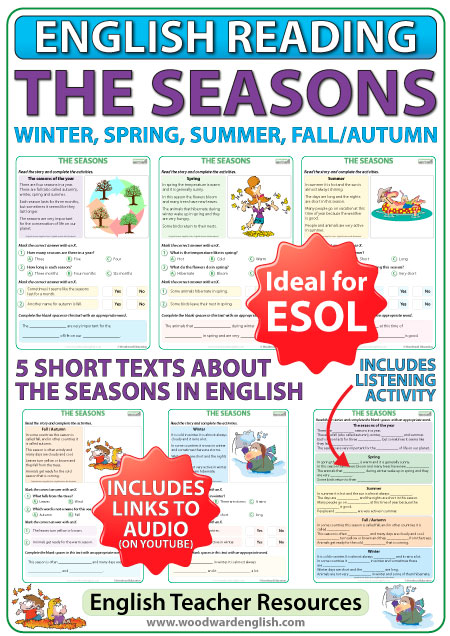 The Seasons - English reading activities about the seasons - ESOL teacher resource