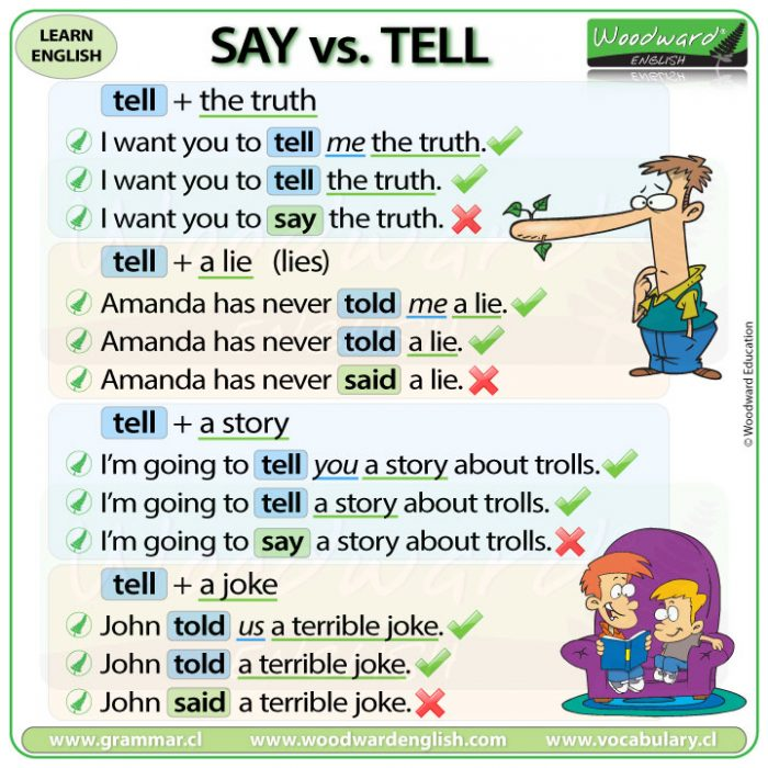 Tell the truth, tell a lie, tell a story, tell a joke - Example sentences in English