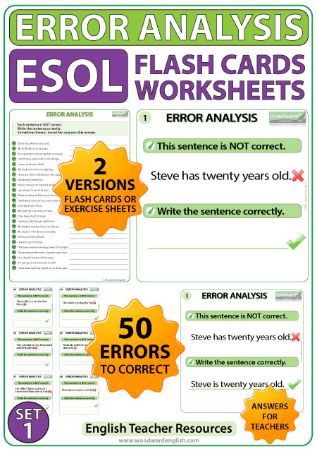 Error Analysis In English Flash Cards & Worksheets - Set 1