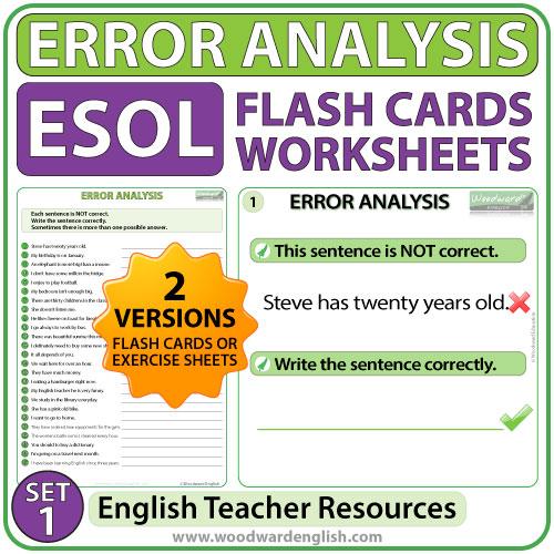 English Error Analysis Flash Cards & Worksheets - Set 1
