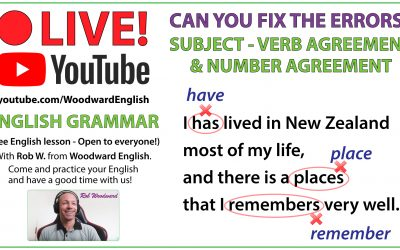 Subject + Verb Agreement – Number Agreement Error Analysis – Live on YouTube