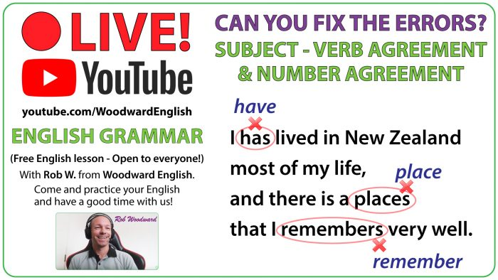 Subject + Verb Agreement - Number Agreement Error Analysis - Live on YouTube