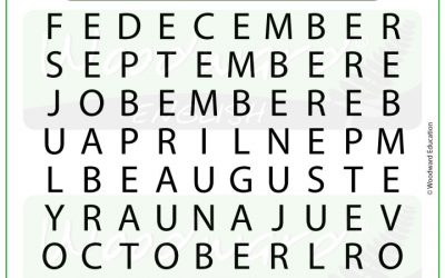 Months Word Search in English